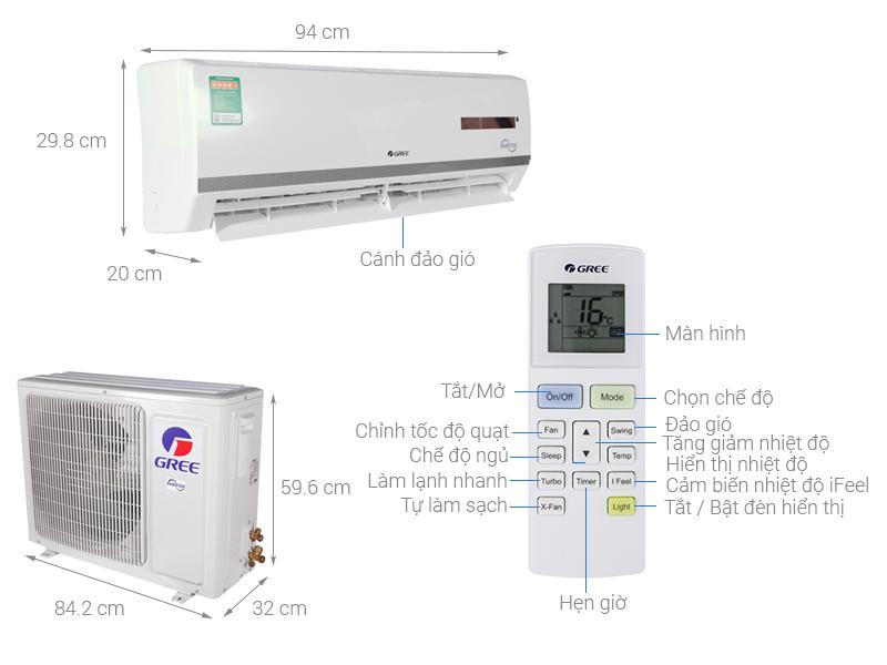 Thông số kỹ thuật Điều hòa 2 chiều Gree Inverter 17150 BTU GWH18WC-K3DNB7L