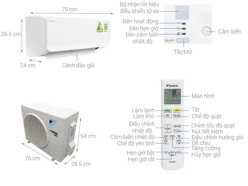 Thông số kỹ thuật Máy lạnh Daikin Inverter 1 HP ATKC25TVMV