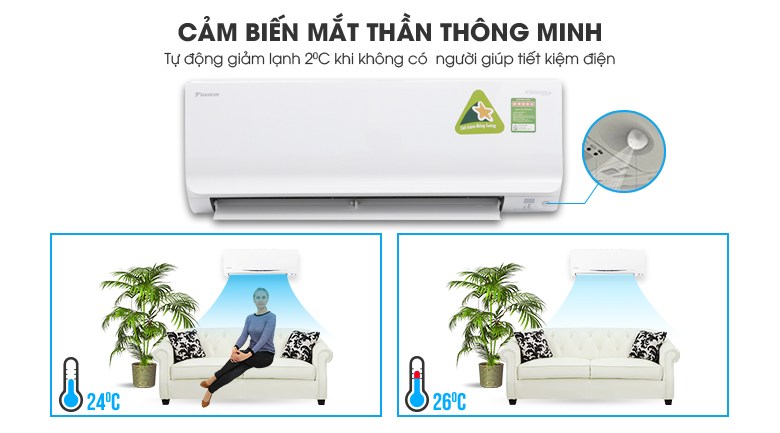 Intelligent eye - Máy lạnh Daikin Inverter 1.5 HP ATKC35TVMV