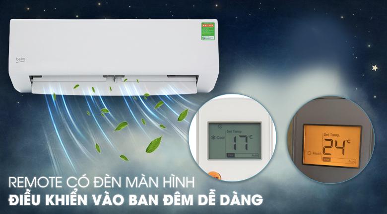 Máy lạnh Beko 1.5 HP RSSC12CV - Remote có đèn màn hình