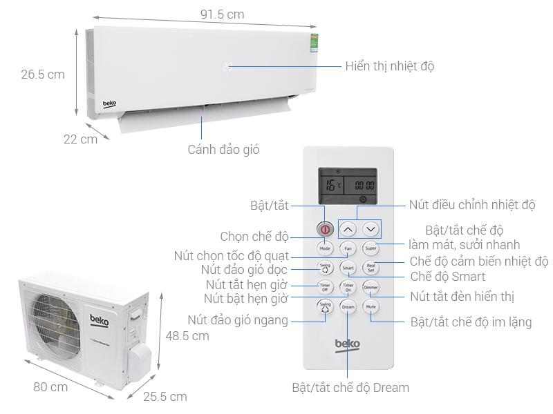 Thông số kỹ thuật Máy lạnh Beko Inverter 1 HP RSVC10AV