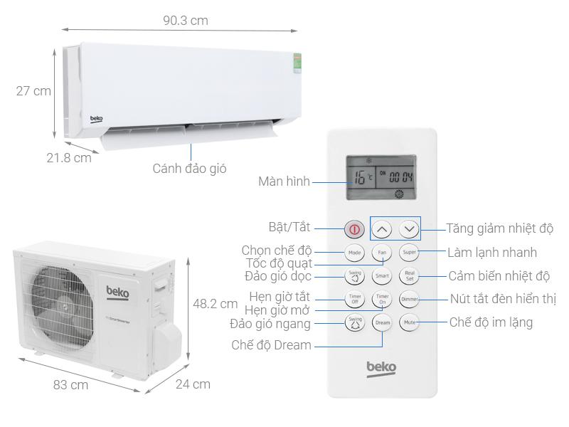 Thông số kỹ thuật Máy lạnh Beko Inverter 1.5 HP RSVC13AV