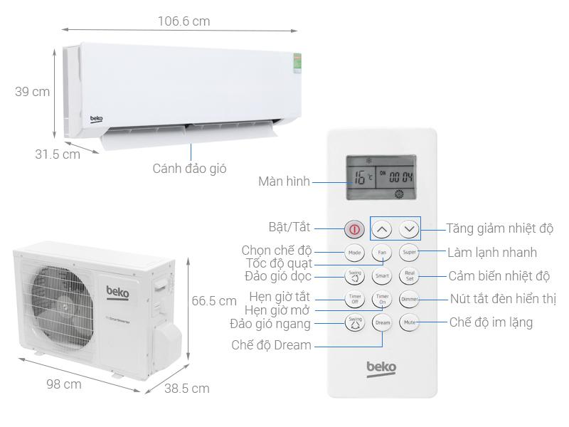 Thông số kỹ thuật Máy lạnh Beko Inverter 2 HP RSVC18AV