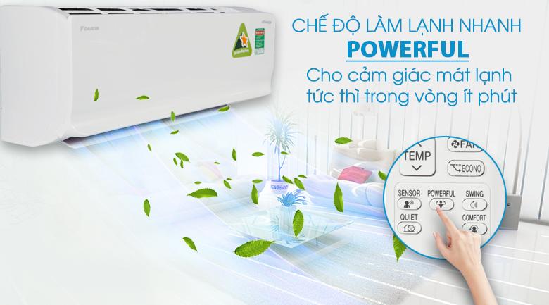 Làm lạnh nhanh Powerful - Máy lạnh 2 chiều Daikin Inverter 1.5 HP FTHF35RVMV