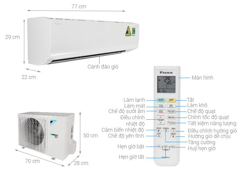 Thông số kỹ thuật Điều hòa 2 chiều Daikin Inverter 17100 BTU FTHF50RVMV