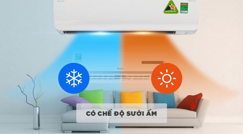 Chế độ sưởi ấm - Điều hòa 2 chiều Daikin Inverter 17100 BTU FTHF50RVMV