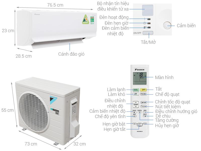 Thông số kỹ thuật Máy lạnh Daikin Inverter 1.5 HP ATKC35TAVMV