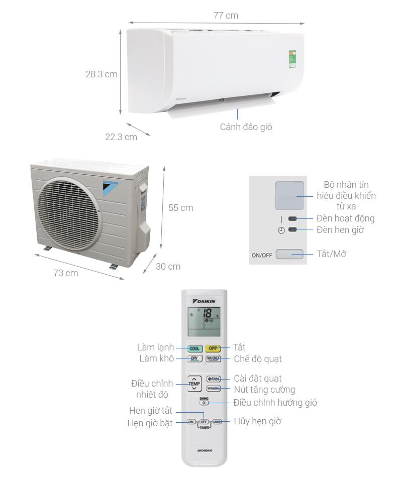 Thông số kỹ thuật Máy lạnh Daikin 1.5 HP FTC35NV1V