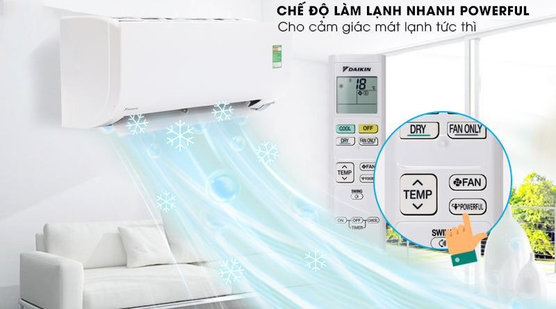 Làm lạnh nhanh - Máy lạnh Daikin 1.5 HP FTC35NV1V