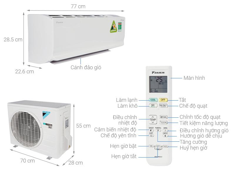Thông số kỹ thuật Máy lạnh Daikin Inverter 1.0 HP ATKC25TAVMV