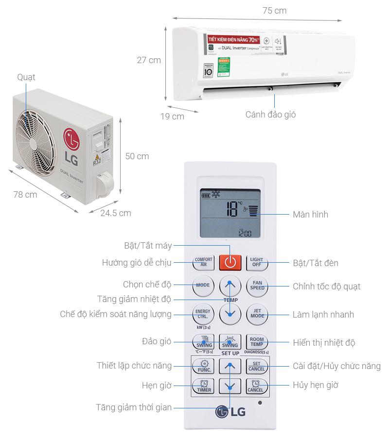 Thông số kỹ thuật Máy lạnh LG Inverter 1 HP V10ENW