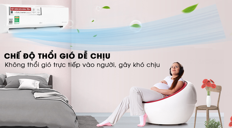 Chế độ thổi gió dễ chịu - Máy lạnh LG Inverter 1 HP V10ENW