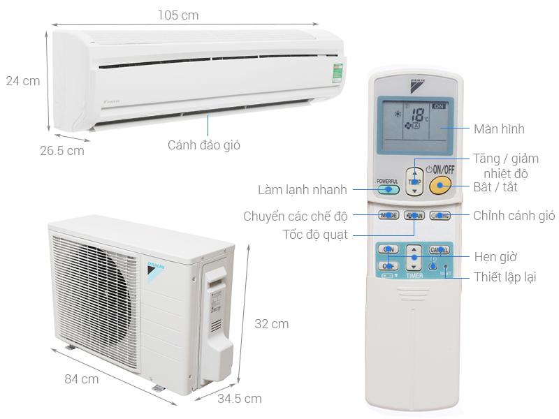 Thông số kỹ thuật Máy lạnh Daikin 2.0 HP FTC50NV1V