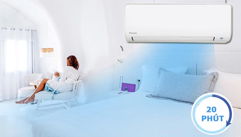 Chế độ làm lạnh nhanh cho bạn thoải mái tận hưởng không gian mát lạnh ngay lập tức