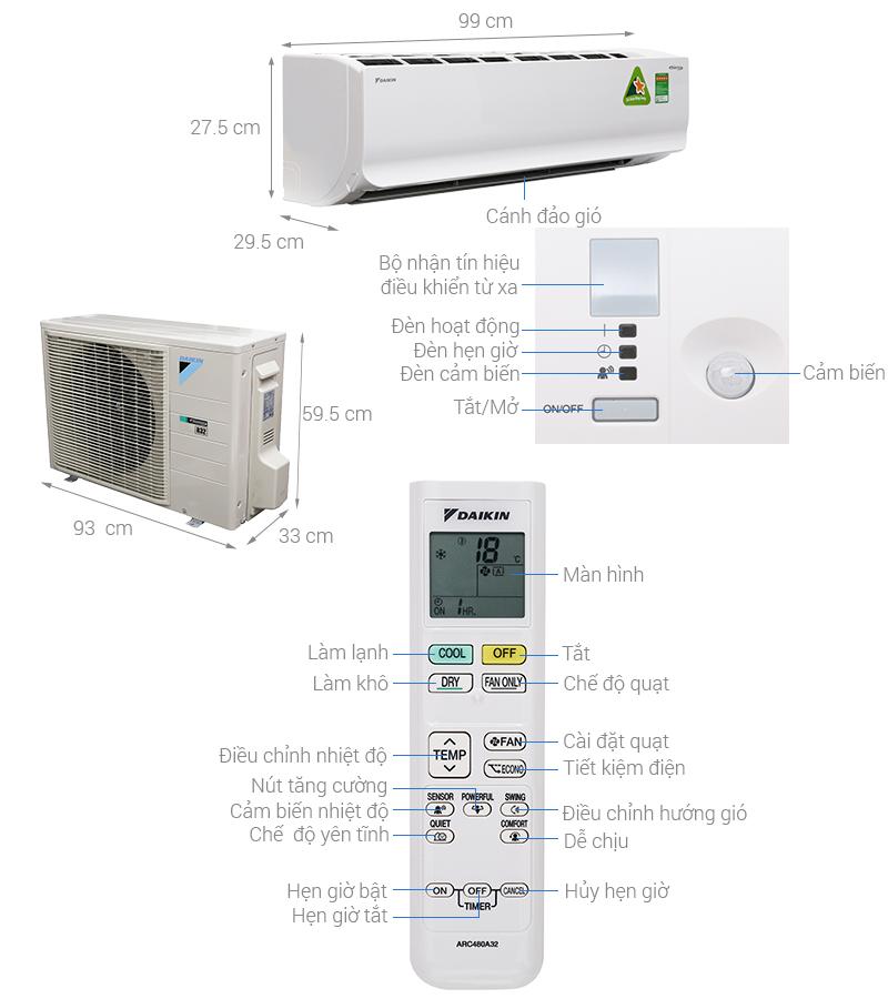 Thông số kỹ thuật Máy lạnh Daikin Inverter 2 HP FTKC50TVMV