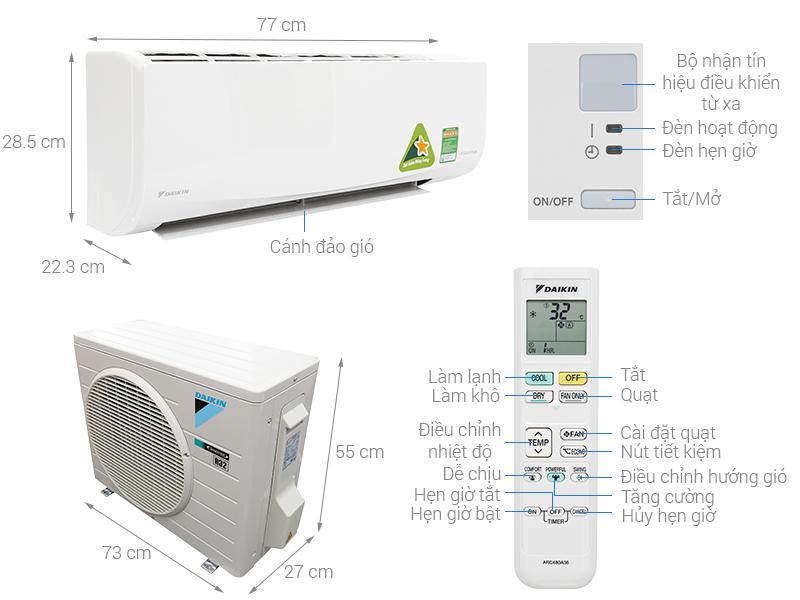 Thông số kỹ thuật Máy lạnh Daikin Inverter 1.5 HP FTKQ35SAVMV