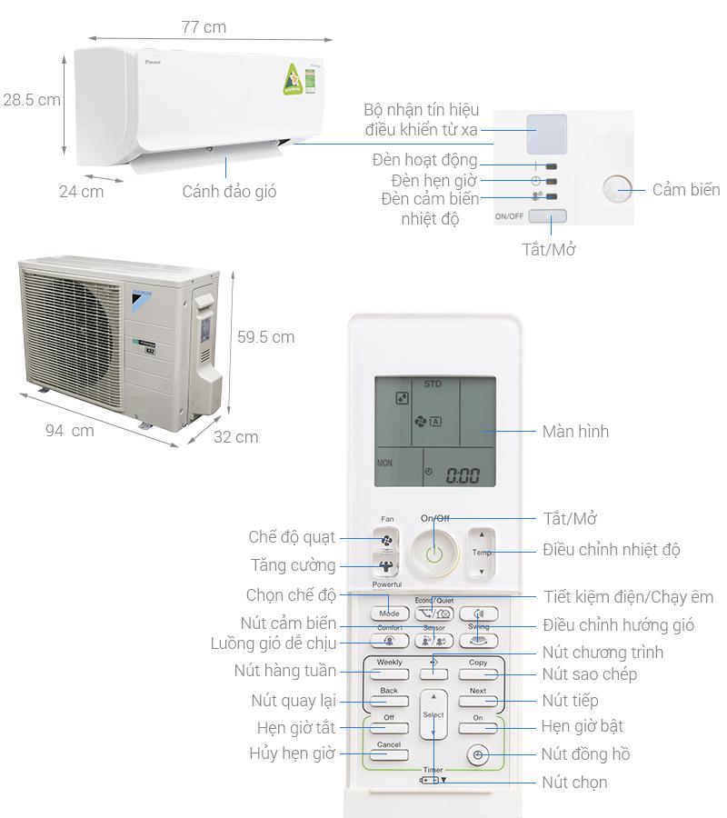 Thông số kỹ thuật Máy lạnh Daikin Inverter 1 HP FTKM25SVMV