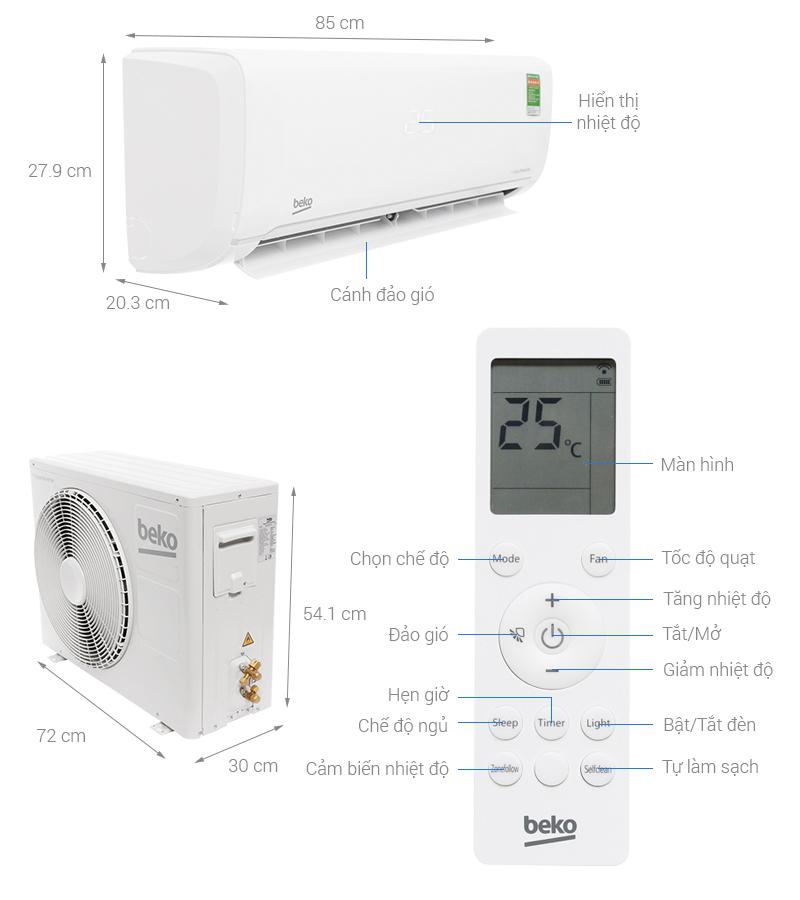 Thông số kỹ thuật Máy lạnh Beko Inverter 1.5 HP RSVC12VY