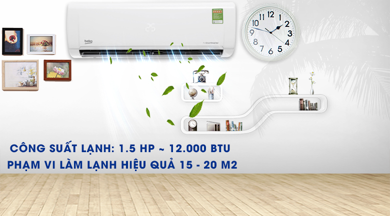 Máy lạnh Beko Inverter 1.5 HP RSVC12VY