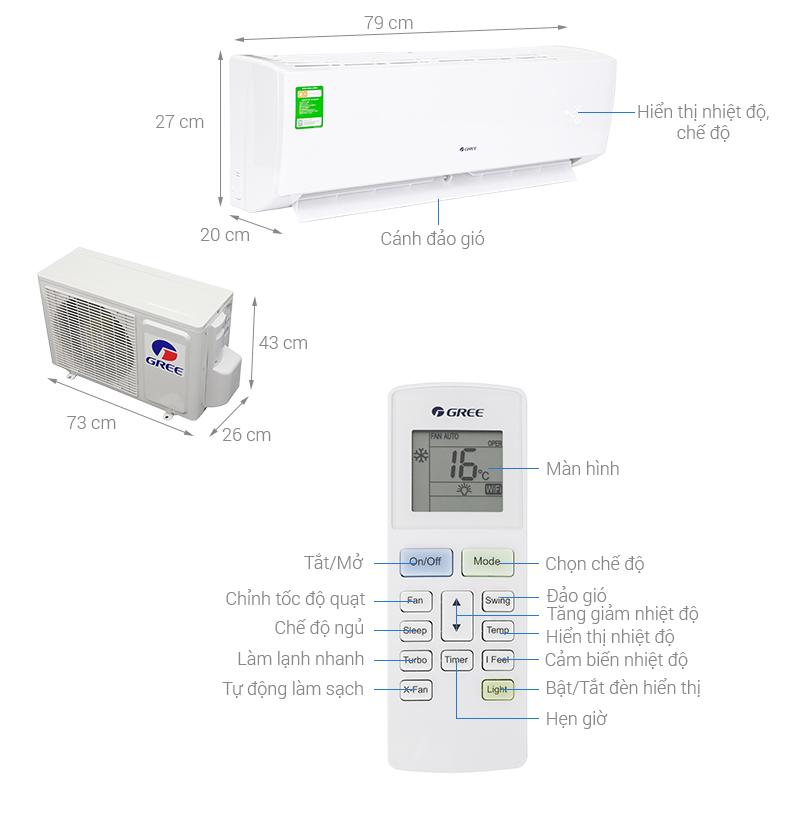 Thông số kỹ thuật Máy lạnh Gree 1 HP GWC09IB-K3NNB2
