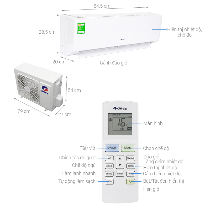Thông số kỹ thuật Máy lạnh Gree 1.5 HP GWC12IC-K3NNB2H