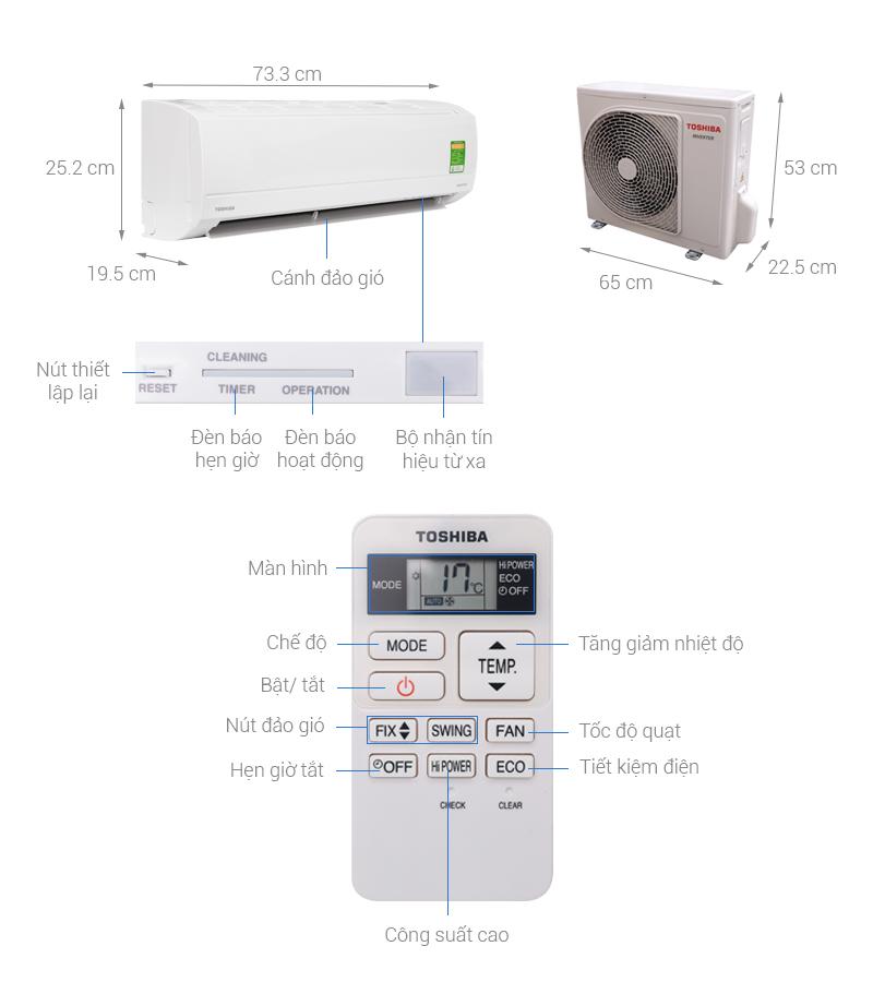 Thông số kỹ thuật Máy lạnh Toshiba Inverter 1 HP RAS-H10KKCVG-V