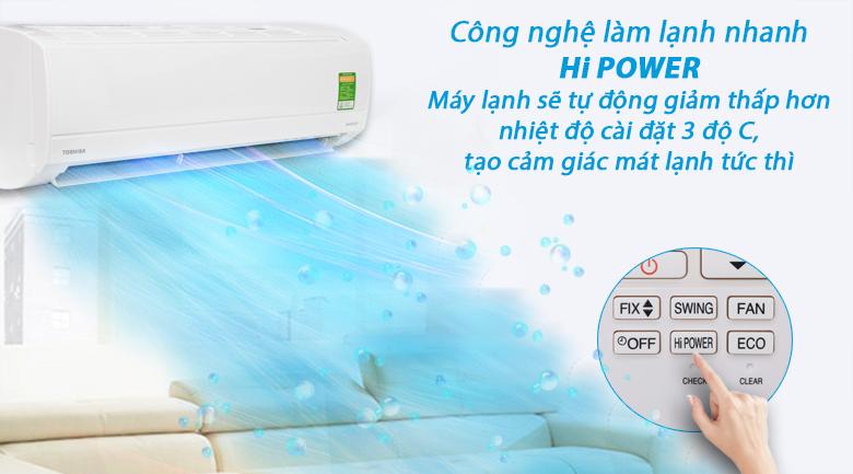 Làm lạnh nhanh HI Power - Máy lạnh Toshiba Inverter 1 HP RAS-H10KKCVG-V
