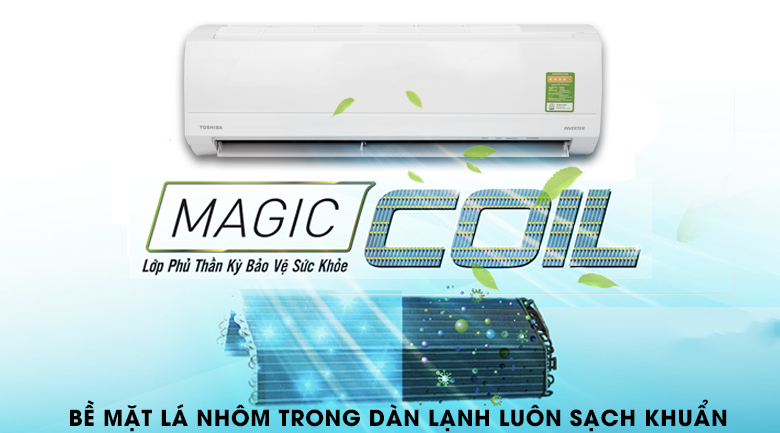 Dàn lạnh chống bám bẩn Magic Coil - Máy lạnh Toshiba Inverter 1 HP RAS-H10KKCVG-V