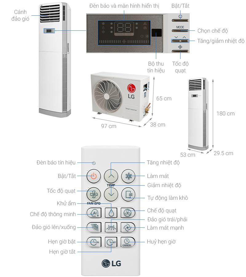 Thông số kỹ thuật Máy lạnh Tủ đứng LG Inverter 2.5 HP APNQ24GS1A3