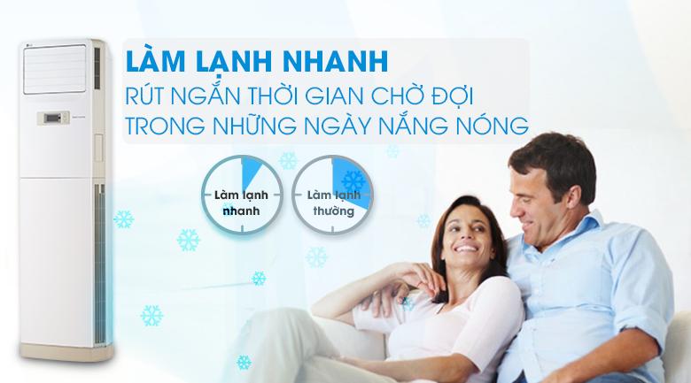 Làm lạnh nhanh hơn 30% - Máy lạnh Tủ đứng LG Inverter 2.5 HP APNQ24GS1A3