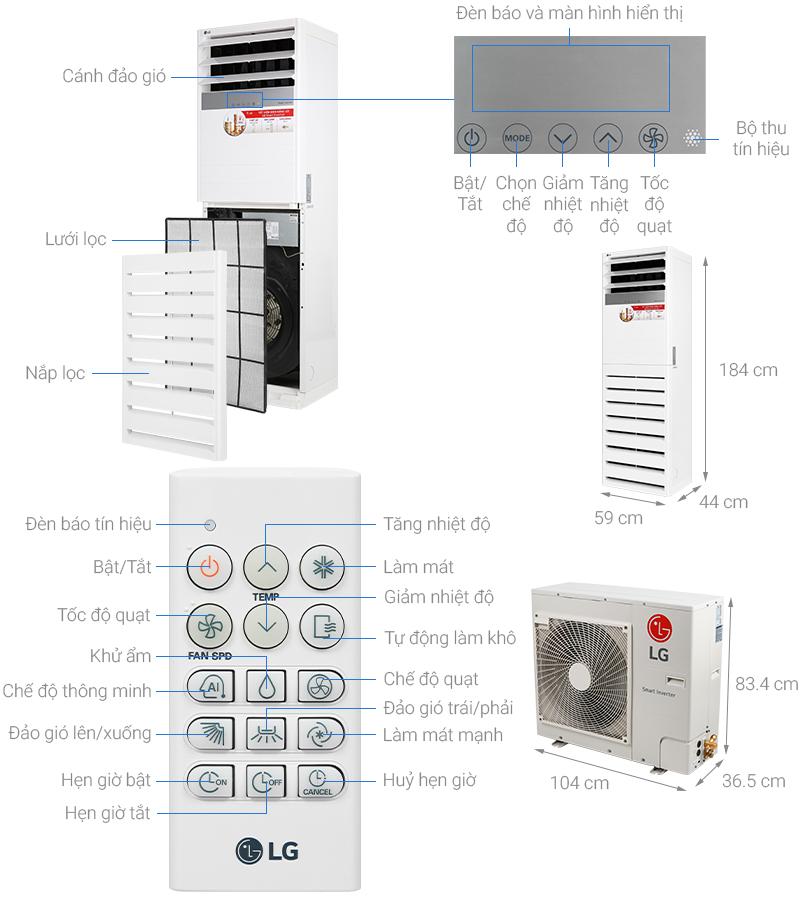 Thông số kỹ thuật Máy lạnh tủ đứng LG Inverter 5 HP APNQ48GT3E3
