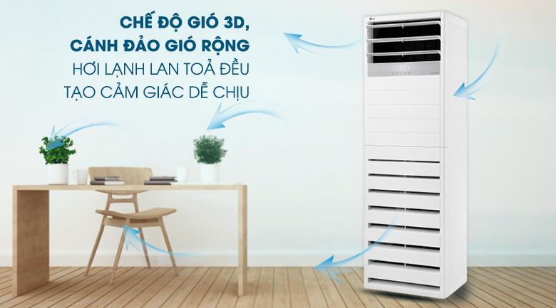 Chế độ gió 3D - Máy lạnh tủ đứng LG Inverter 5 HP APNQ48GT3E3