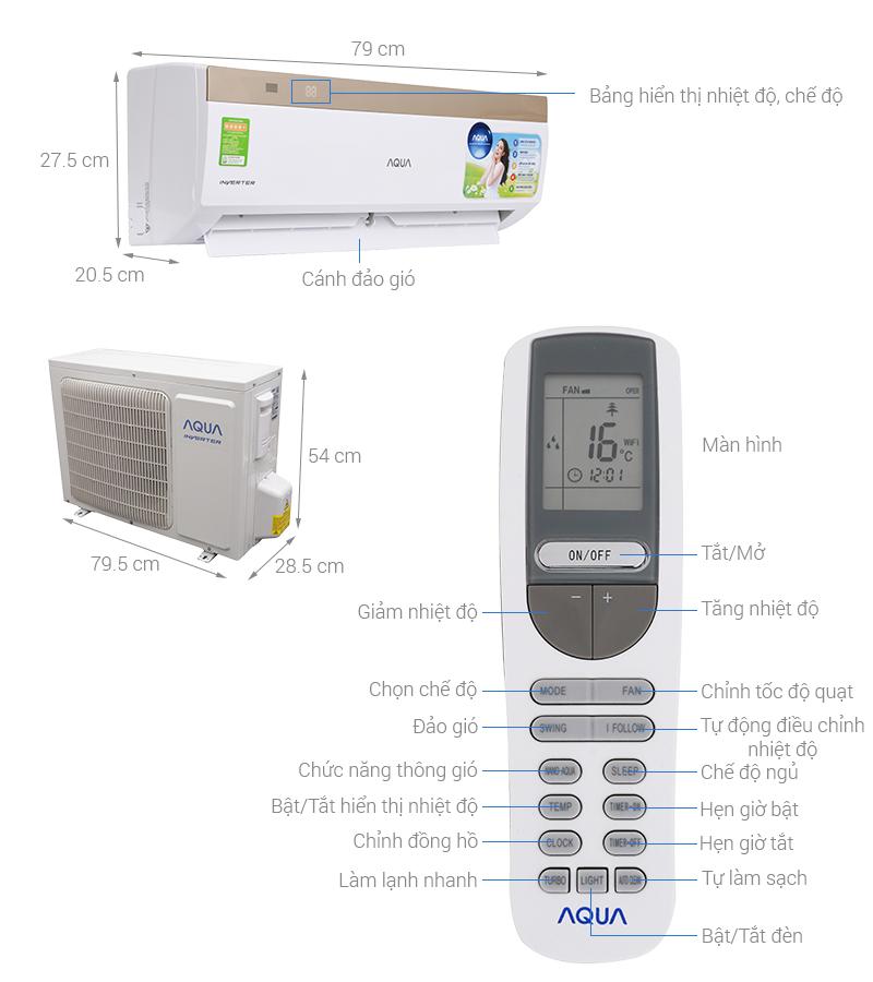 Thông số kỹ thuật Máy lạnh Aqua Inverter 1 HP AQA-KCRV9VKS