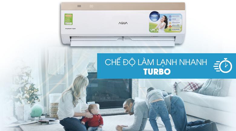Làm lạnh nhanh Turbo - Máy lạnh Aqua Inverter 1 HP AQA-KCRV9VKS