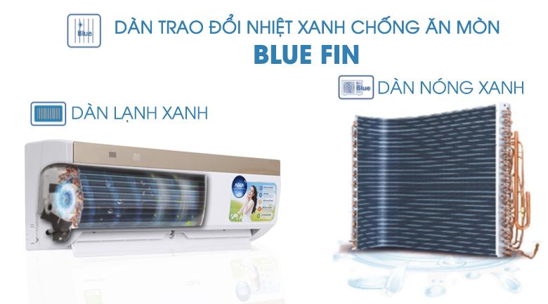 Dàn trao đổi nhiệt xanh Blue Fin - Máy lạnh Aqua Inverter 1 HP AQA-KCRV9VKS