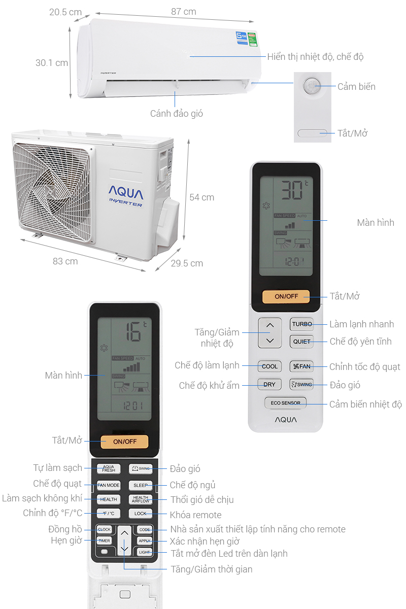 Thông số kỹ thuật Máy lạnh Aqua Inverter 1 HP AQA-KCRV9F