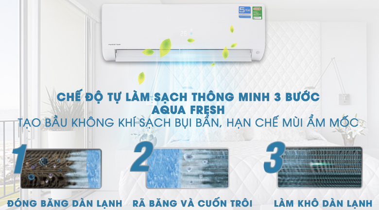 Chế độ tự làm sạch AQUA FRESH - Máy lạnh Aqua Inverter 1 HP AQA-KCRV9F