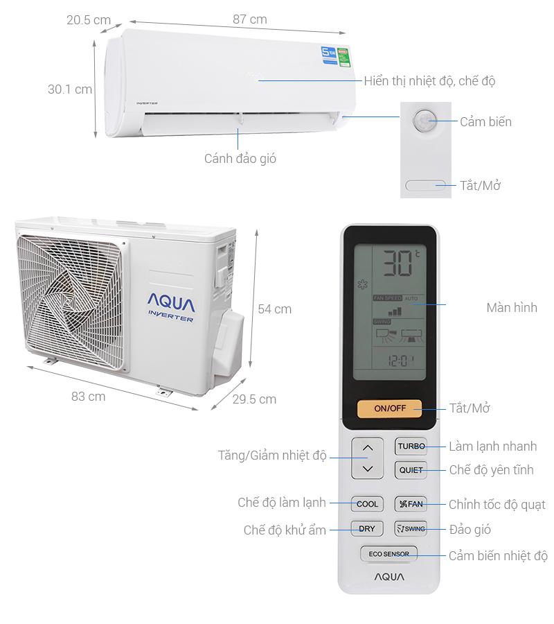 Thông số kỹ thuật Máy lạnh Aqua Inverter 1.5 HP AQA-KCRV12F
