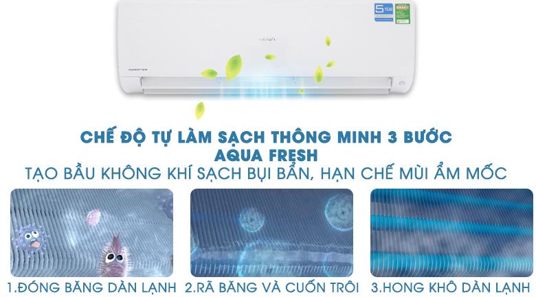 Làm sạch 3 bước AQUA FRESH - Máy lạnh Aqua Inverter 2 HP AQA-KCRV18F