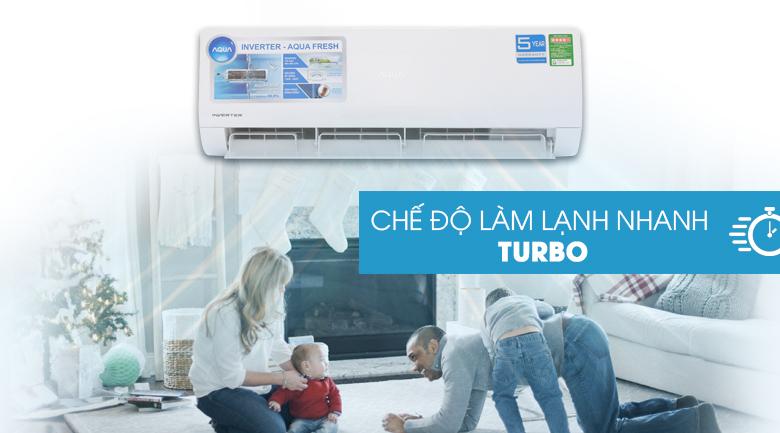 Làm lạnh nhanh Turbo - Máy lạnh Aqua Inverter 1 HP AQA-KCRV9WJB