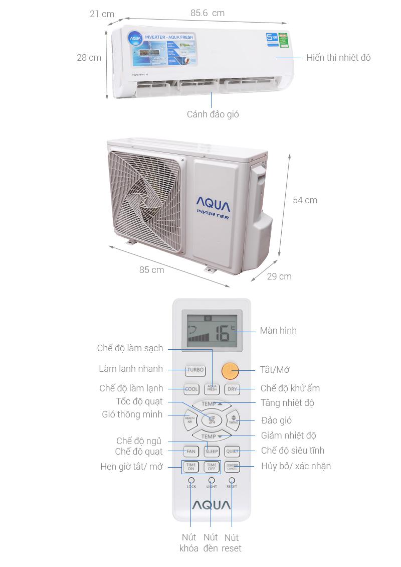 Thông số kỹ thuật Máy lạnh Aqua Inverter 1.5 HP AQA-KCRV12WJB
