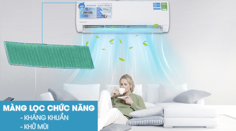 Màng lọc chức năng - Máy lạnh Aqua Inverter 1.5 HP AQA-KCRV12WJB