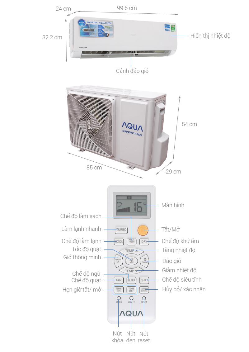 Thông số kỹ thuật Máy lạnh Aqua Inverter 2 HP AQA-KCRV18WJB