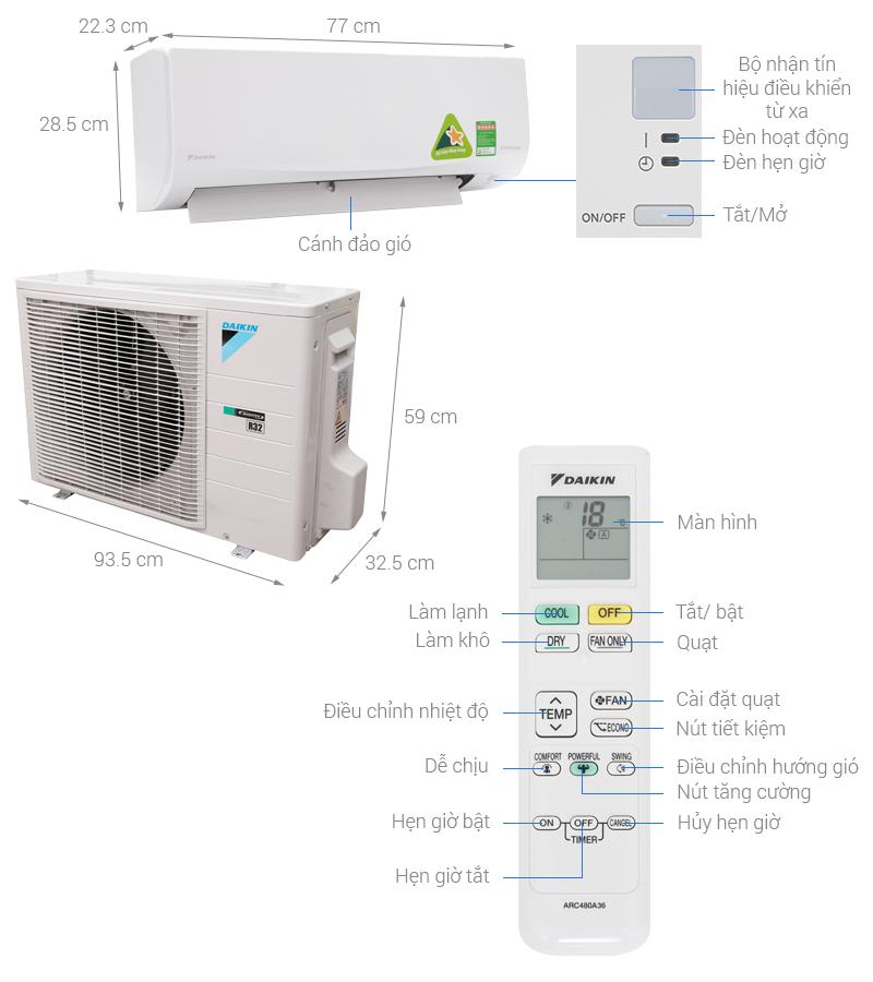 Thông số kỹ thuật Máy lạnh Daikin Inverter 2 HP FTKQ50SVMV