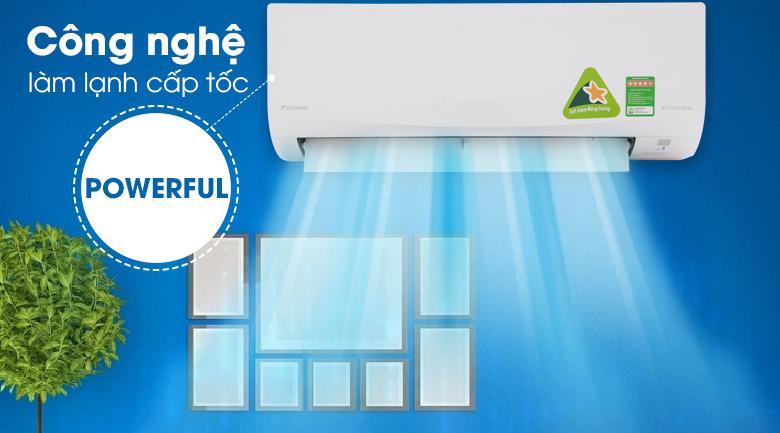 Làm lạnh nhanh Powerful - Máy lạnh Daikin Inverter 2 HP FTKQ50SVMV