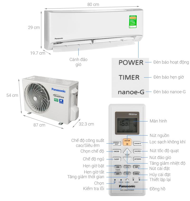 Thông số kỹ thuật Máy lạnh 2 chiều Panasonic 1.5 HP CU/CS-YZ12UKH-8