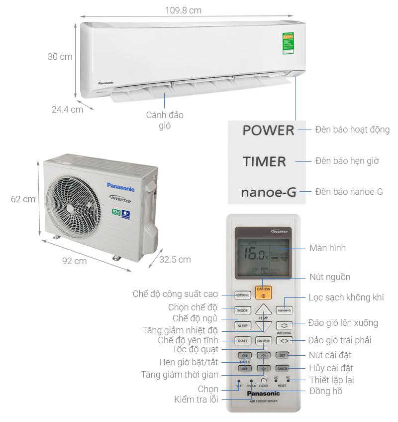 Thông số kỹ thuật Máy lạnh 2 chiều Inverter Panasonic 2 HP CU/CS-YZ18UKH-8