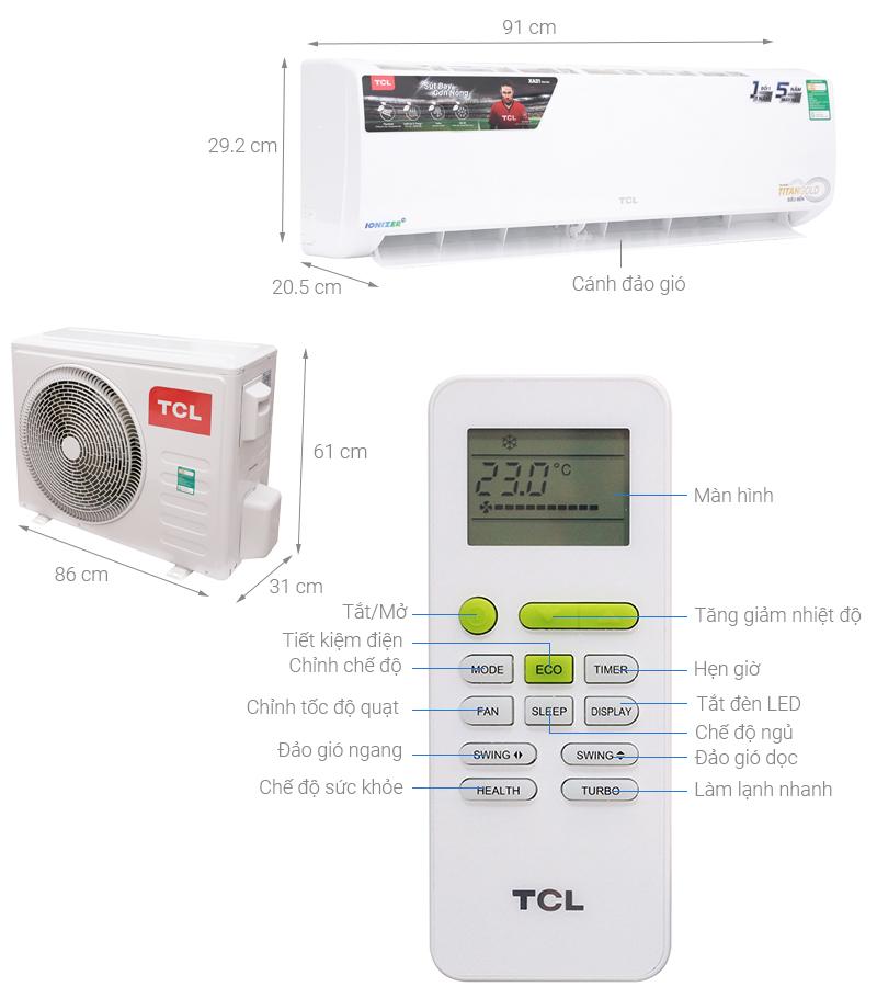Thông số kỹ thuật Máy lạnh TCL 2 HP TAC-N18CS/XA21