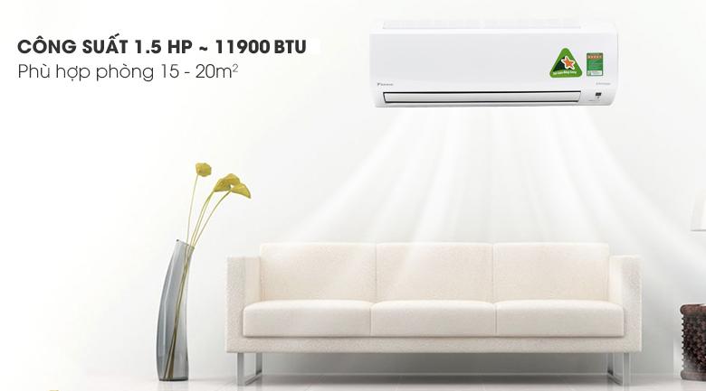 Công suất 11.900 BTU - Điều hòa 2 chiều Daikin Inverter 11900 BTU FTHF35RAVMV