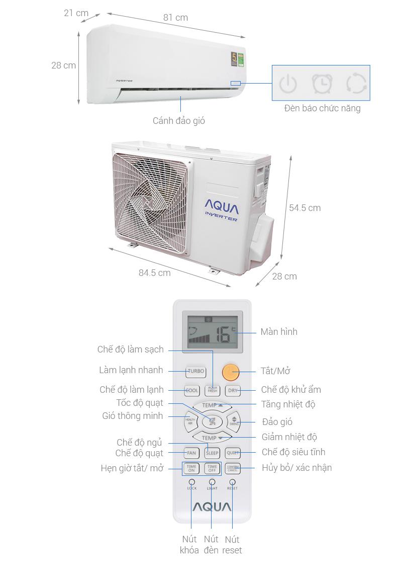Thông số kỹ thuật Máy lạnh Aqua Inverter 1HP AQA-KCRV9WNZ